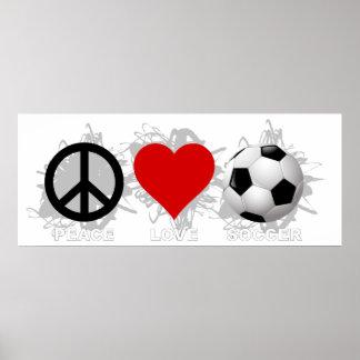 Emblème du football d'amour de paix affiches
