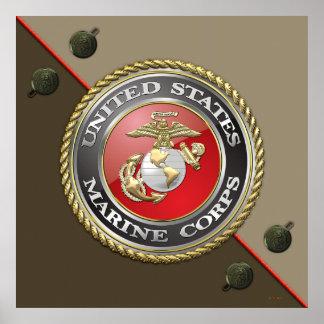 Emblème d'usmc et uniforme [3D] Affiche