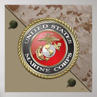 Emblème d'usmc et uniforme [3D] Posters