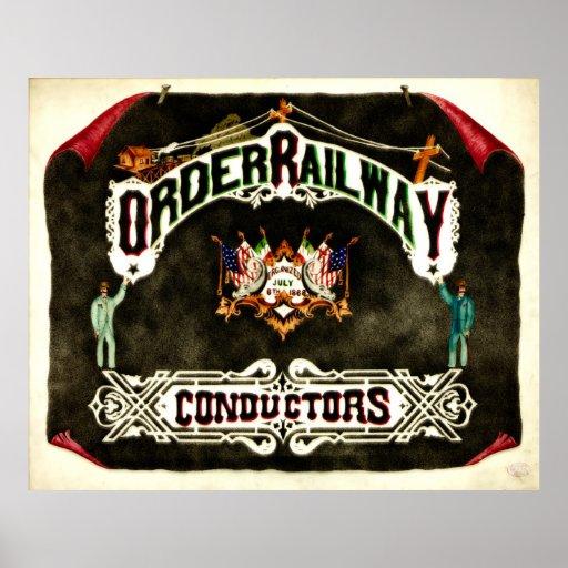 Emblème ferroviaire 1889 de conducteurs d'ordre posters