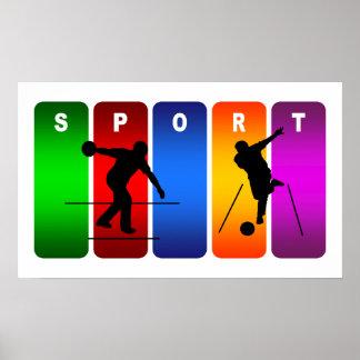 Emblème multicolore de bowling poster