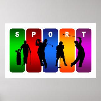 Emblème multicolore de golf poster