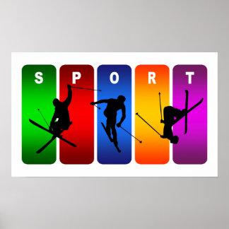 Emblème multicolore de ski affiche