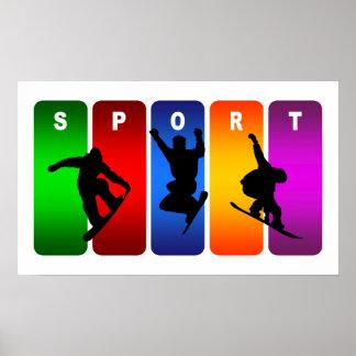 Emblème multicolore de snowboarding