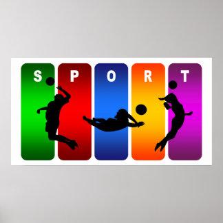 Emblème multicolore de volleyball poster