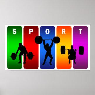 Emblème multicolore d'haltérophilie poster