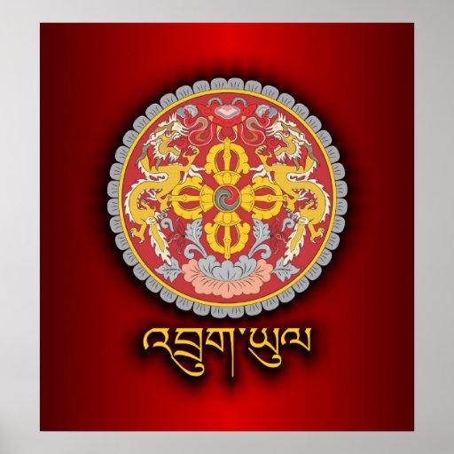 Emblème national du Bhutan Posters