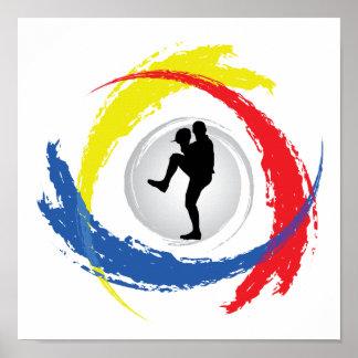 Emblème tricolore de base-ball poster