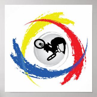 Emblème tricolore de BMX Poster