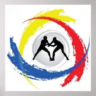 Emblème tricolore de lutte poster