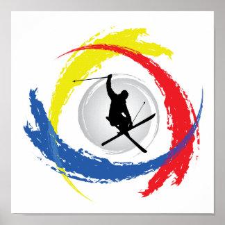 Emblème tricolore de ski poster
