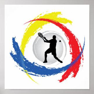 Emblème tricolore de tennis (mâle) poster