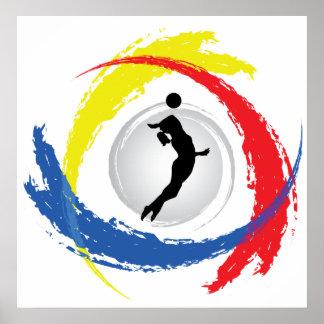 Emblème tricolore de volleyball (femelle) poster