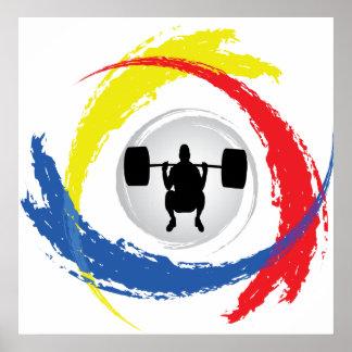Emblème tricolore d'haltérophilie poster