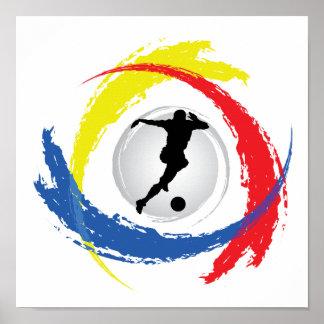 Emblème tricolore du football poster