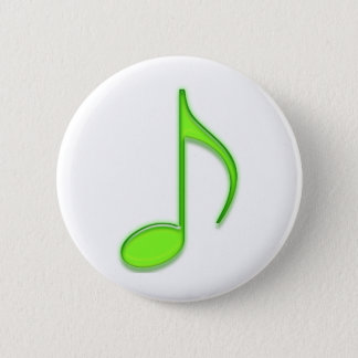 Emboss Green Music 8th Musical Note 2 Inch Round Button