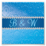 Embossed Blue Flower Anniversary Monograms Photographic Print