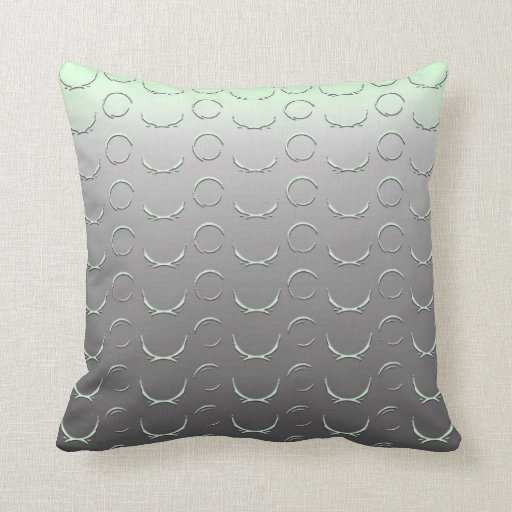 Embossed Circles Art Deco Silver Mint Green Throw Pillows