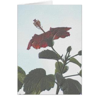 Embossed Dark Hibiscus Card