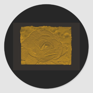 Embossed Deep Gold Rose Round Sticker