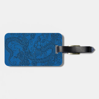 Embossed Dragon on Blue Lapis Leather Texture Luggage Tag