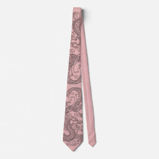 Embossed Dragon On light pink leather print Tie