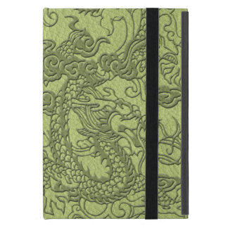 Embossed Dragon on LimeGreen Leather Texture Cover For iPad Mini