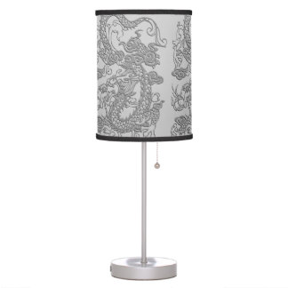Embossed Dragon on Mink Leather Texture Table Lamp