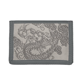 Embossed Dragon on Mink Leather Texture Tri-fold Wallets
