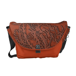 Embossed Dragon On Red Earth Leather Texture Courier Bags