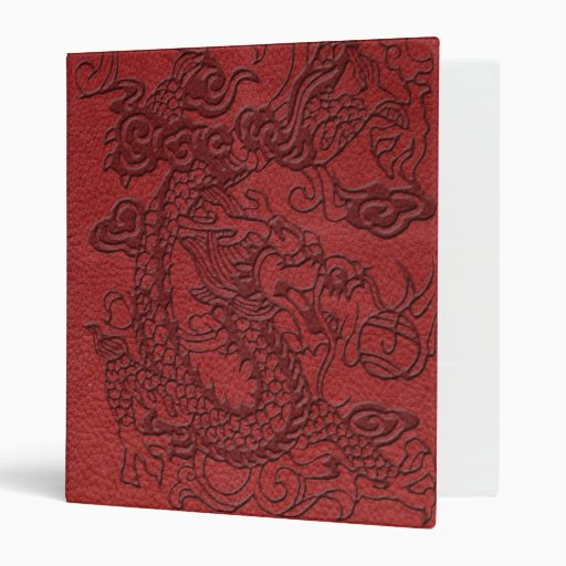 Embossed Dragon on Red Leather Texture Binder