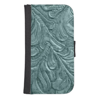 Embossed Faux Leather Blue Galaxy S4 Wallet Cases