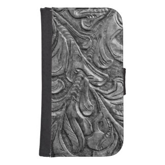 Embossed Faux Leather Charcoal Grey Galaxy S4 Wallet Cases