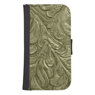 Embossed Faux Leather Professional Green Galaxy S4 Wallet