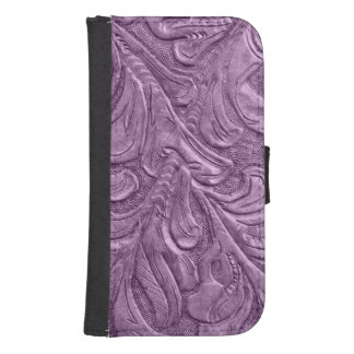 Embossed Faux Leather Professional Purple Galaxy S4 Wallets