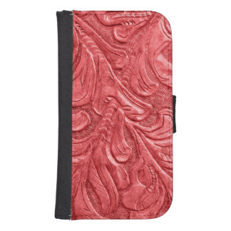 Embossed Faux Leather Professional Red Phone Wallet Cases