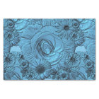 Embossed Flowers-Blue-Tissue Wrapping Tissue Paper