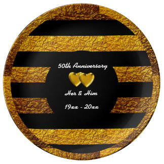 Embossed Gold 50th Anniversary Dinner Plate Porcelain Plates