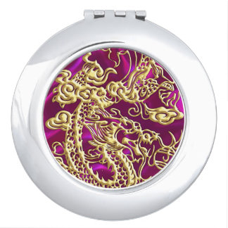 Embossed Gold Dragon Magenta Satin Print Mirrors For Makeup