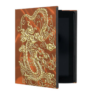 Embossed Gold Dragon on Orange Satin Print Cases For iPad