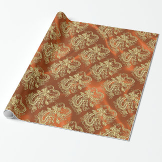 Embossed Gold Dragon on Orange Satin Print Wrapping Paper