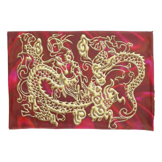 Embossed Gold Dragon on Red Satin Print Pillowcase