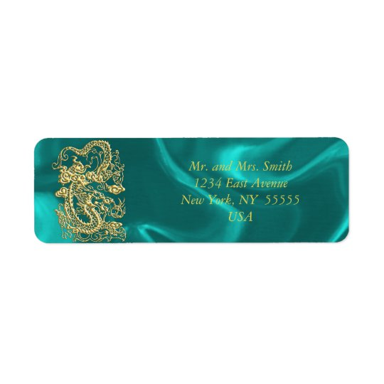 Embossed Gold Dragon on Turquoise Satin Print