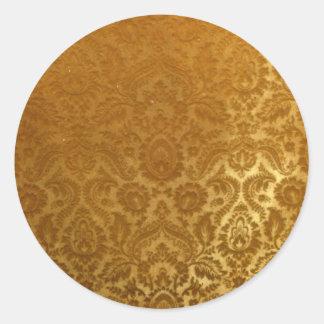 EMBOSSED GOLD  VELVET DESIGN ROUND STICKER
