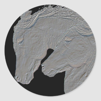 Embossed Horses Classic Round Sticker