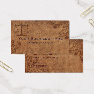 Embossed Leather Attorney at Law Business Card