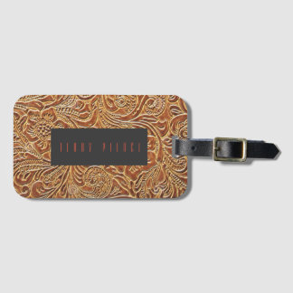 Embossed Leather Look Luggage Tag