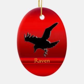 Embossed-look black Raven on red chrome-effect Ceramic Oval Ornament