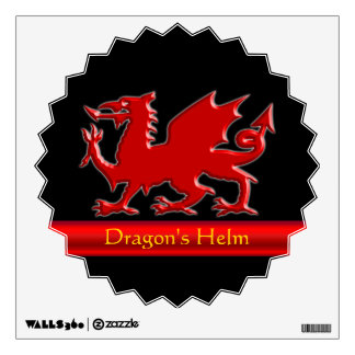 Embossed-look Dragon with red chrome-effect stripe Wall Sticker