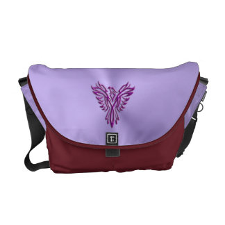 Embossed-look Purple Phoenix Rising image design Messenger Bag